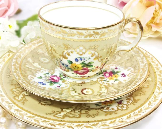 RARE Cauldon Gold Encrusted English Tea Trio, Floral Bone China English Tea Cup, Saucer, Plate Collectible For Tea Time, Tea Party #A317