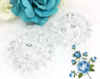 Pair Crystal Crystal Clear Candlestick Holders, Formal Dining, Candle Holder, Wedding, Home Decor # A609