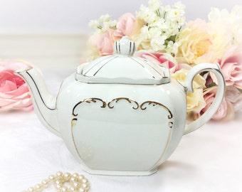 Cubed Sadler English Teapot, Cubed Gilt Teapot, White and Gold Filigree Teapot For Tea Time, Baby Shower, Wedding, English Teapot #A296