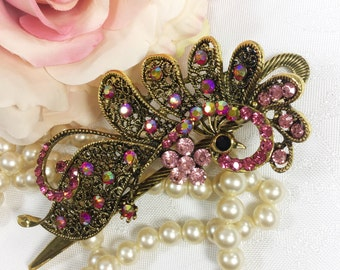 Antique Gold & Pink Rhinestone Peacock Hair Clip Rhinestones for Wedding, Evening Wear, Party, Prom, Bridesmaid Gift #A