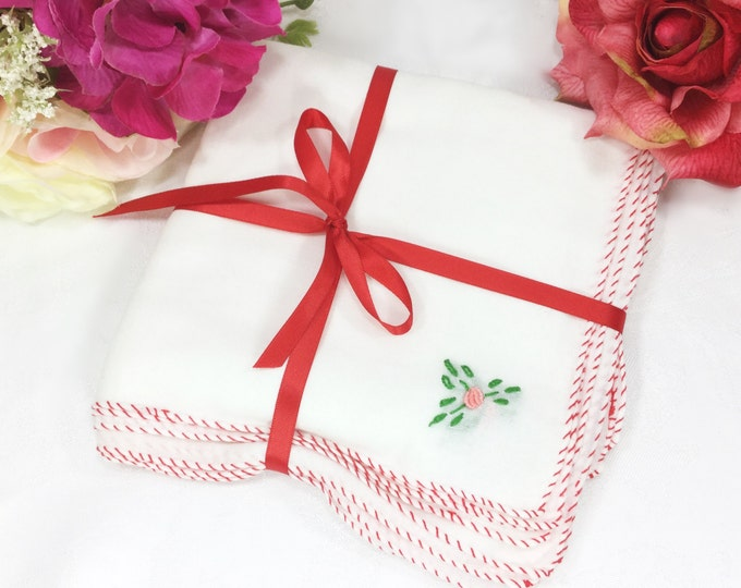 6 Piece Vintage Embroidered Cotton Linen Floral Dinner Napkin Set For Valentines, Tea Party, Weddings, Bridal Baby Shower #A434
