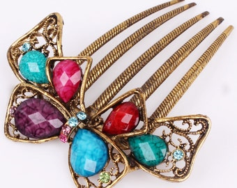 Austrian Crystal Multi Colored & Gold Bow Colored Hair Comb, Hair Pin, Hair Jewelry, Bridesmaid Gift #A352