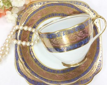 Roslyn China Gold Encrusted English Tea Trio, Gold Floral Filigree English Bone China English Tea Cup, Saucer, Plate, Tea Party #A433