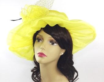 Chic Ladies Sheer Yellow Organza Tea Party Hat 0e33b953e8e0