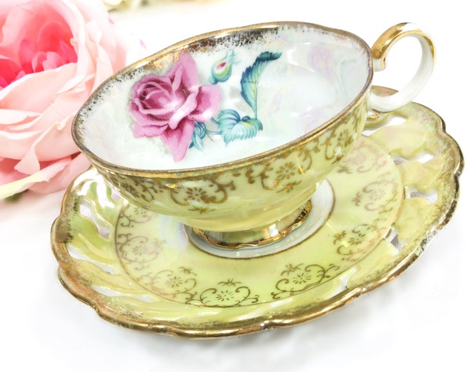 Yellow Lusterware Teacup & Reticulated Saucer, China Tea Set, for Wedding, Shower, Tea Time, Bridal, Tea Party, Japan #A244