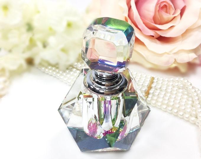 Retro Multi Colored Glass Perfume Bottle, Vintage Perfume Bottle for Vanity Decor or Boudoir Decor  #A840