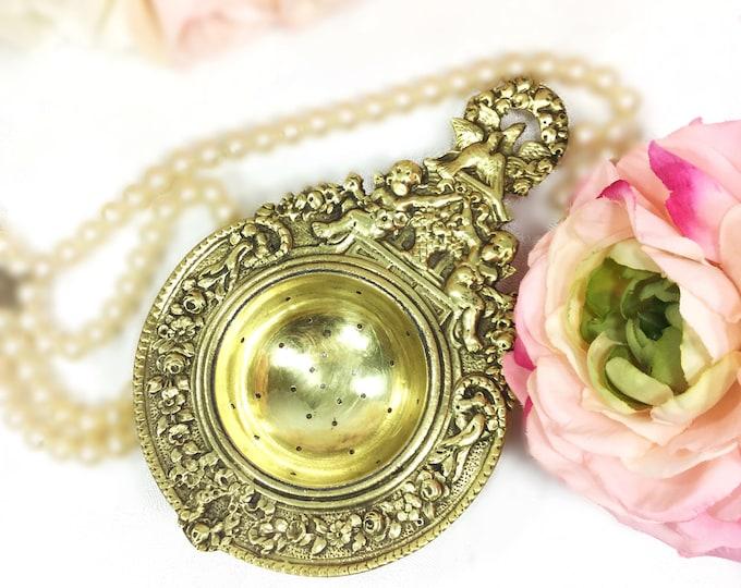 RARE Antique Ornate Italian Brass Cherub Tea Strainer, Baroque Tea Strainer for Tea Time, Tea Party, Wedding Present, Valentine #A600