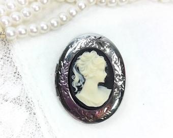 Vintage Black Locket Cameo Brooch, Black Cameo Locket Brooch, Cameo Jewelry, Victorian Inspired Accessory #B117