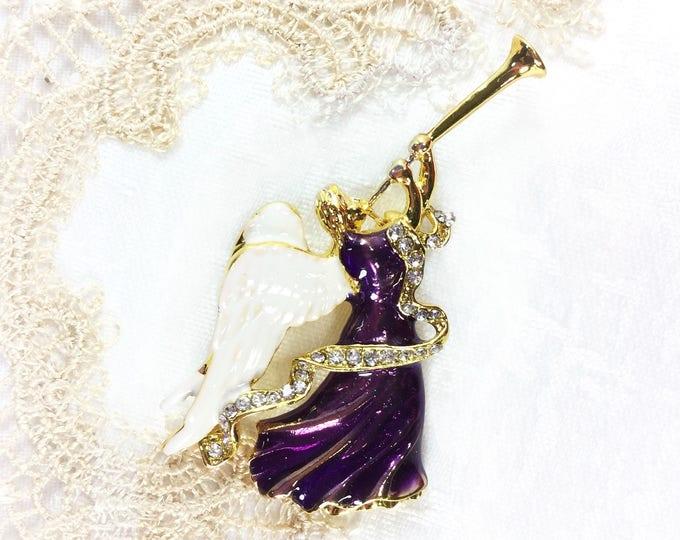 Purple Angel Brooch, Angel Pin For Christmas, Mothers Day Pin, Bridesmaid Gift, Anniversary, Birthday Gift # B436