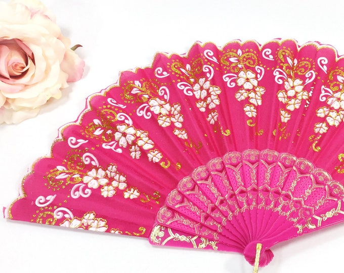 Pink & Gold Spanish Filigree Floral Folding Fan For Weddings, Dress up, Bridal Showers, Gift, Tea Party, Tea Time, Church #