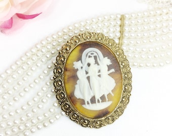 Beautiful Vintage 3 Graces Cameo Brooch, West Germany Cameo, Cameo Jewelry, Victorian, Dress up Jewlery, #B230