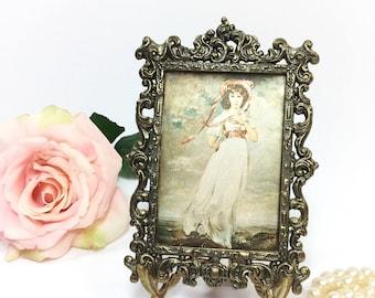 Italian Satin Pinkie Depose, Pinkie Framed Art, Framed Cameo, Vintage Pinkie Portrait Cameo Framed Art #B041