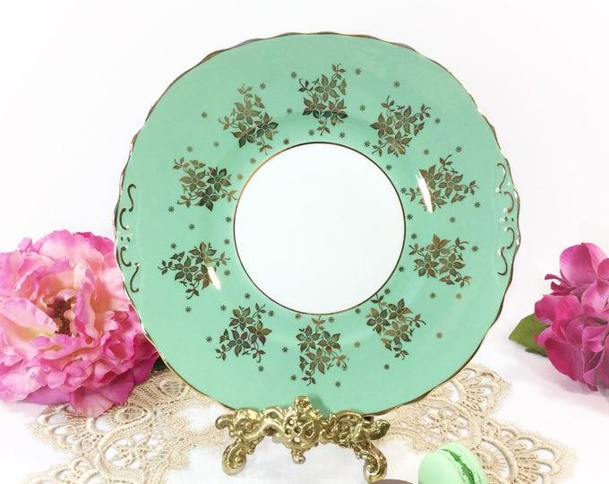 English Colclough Green Cake Plate, Gold Chintz Fine Bone China Serving Plate for Tea Set, Tea Party, Wedding, England #B295