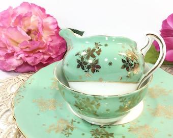 Colclough Gold Chintz English Bone China Open Green Sugar Bowl & Creamer for Tea Set Tea Party, Wedding. English Bone China #B294