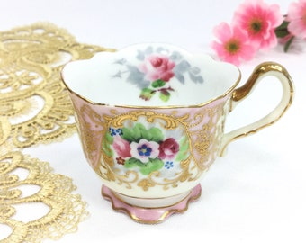 Hand Painted Occupied Japan Gold Encrusted Pink Footed Cup, Pink China Tea Cup For Tea  #B495