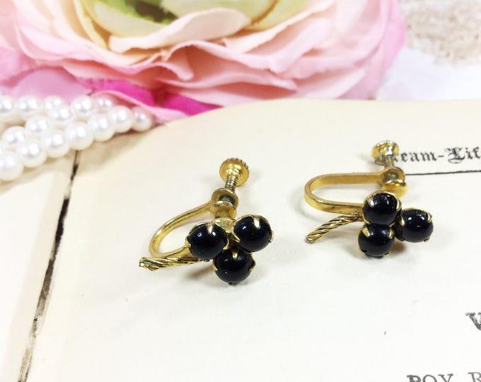 Stunning Black Shamrock Clip On Earrings, Vintage Earrings, Screw Back Earrings, Vintage Jewelry #B235