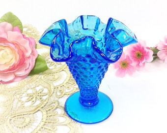 Vintage Fenton Blue Glass Hobnail Vase with Ruffled Crimped Edge, Mid Century Blue Hobnail Compote, Candy Dish, Beach Decor #B481