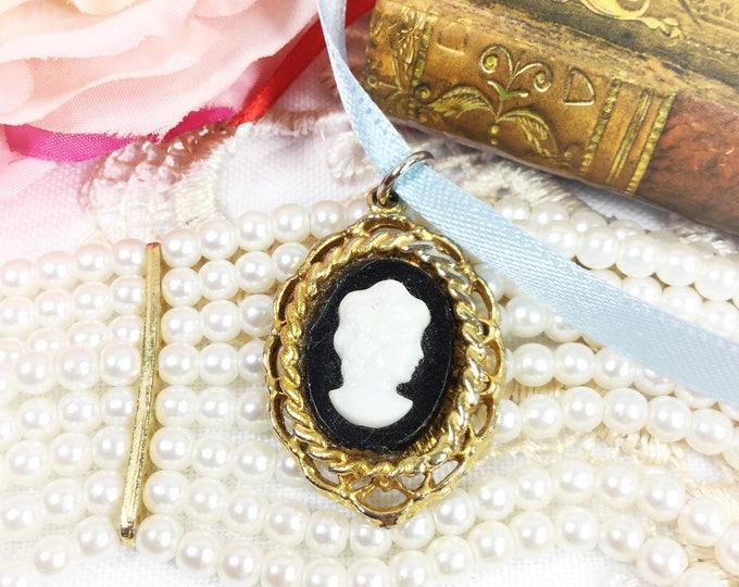 Vintage Black Cameo Pendant, Black Cameo Pendant, Cameo Jewelry, Victorian Jewelry #B228