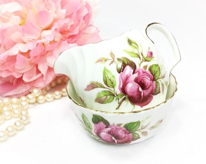 Adderley Fine Bone China Open Sugar Bowl & Creamer for Tea Set Tea Party, Wedding. English Bone China #B162