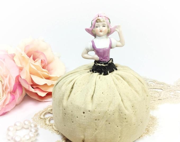 Vintage Porcelain Lady Pincushion, Sewing Hatpin Display, Vintage Sewing Decor #B279
