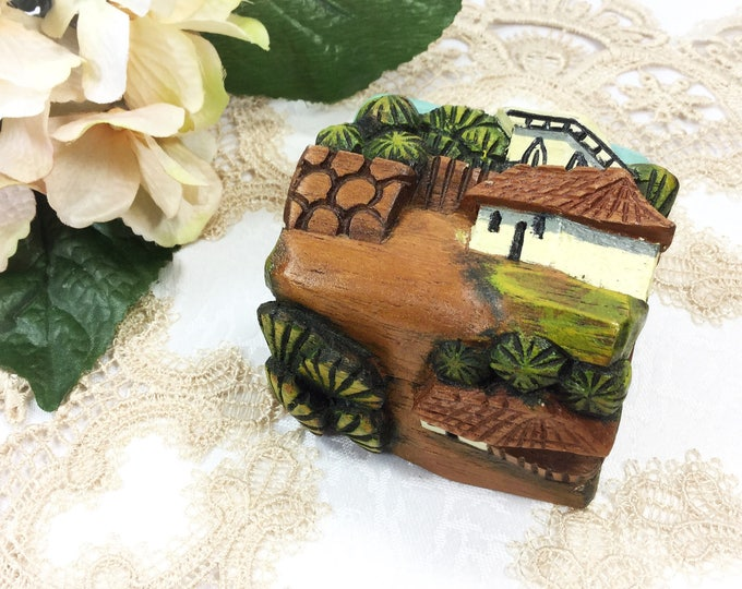 Hand Crarved Wood LandscapeTrinket Box, Carved Scenic Wood Box, Jewlery Box, Keepsake Box #B267