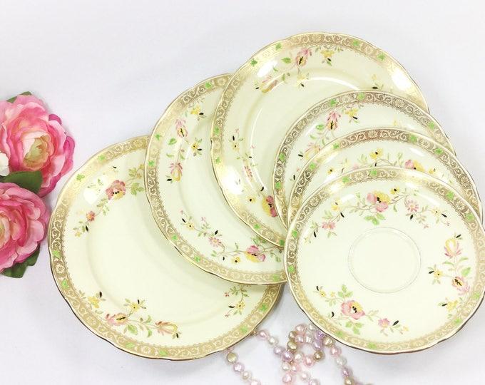 6 Handpainted Copelands Grosvenor Saucers & Dessert Plates, English China Plates, Dinnerware, Serving Plate, Home Decor #A967