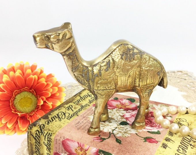 Vintage Brass Camel Figurine, Brass Camel, Brass Figurine, Vintage Office Decor, Vintage Decor # B472