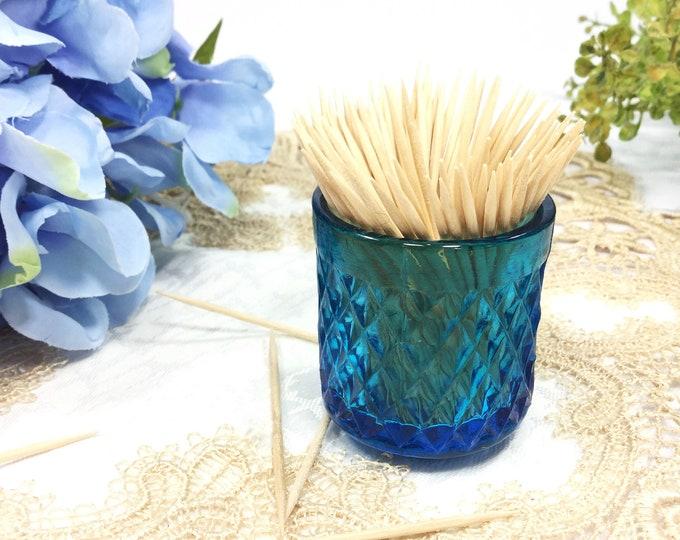 Blue Glass Toothpick Holder, Blue Glass Bud Vase, Blue Vase, Blue Toothpick holder #B412