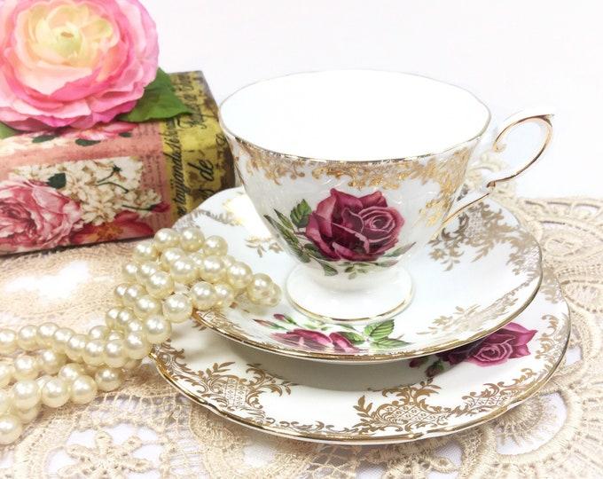 Paragon China Tea Trio, Rose Tea Set, English Bone China, English Tea Cup, Saucer, Plate For Tea Time, English Tea Party, Wedding #B396