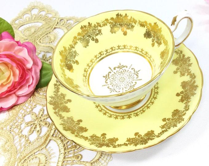 Grosvenor Yellow Tea Cup & Saucer, English Fine Bone China Tea Set, Morning Tea Set, Tea Time, Bridal, Tea Party #B490