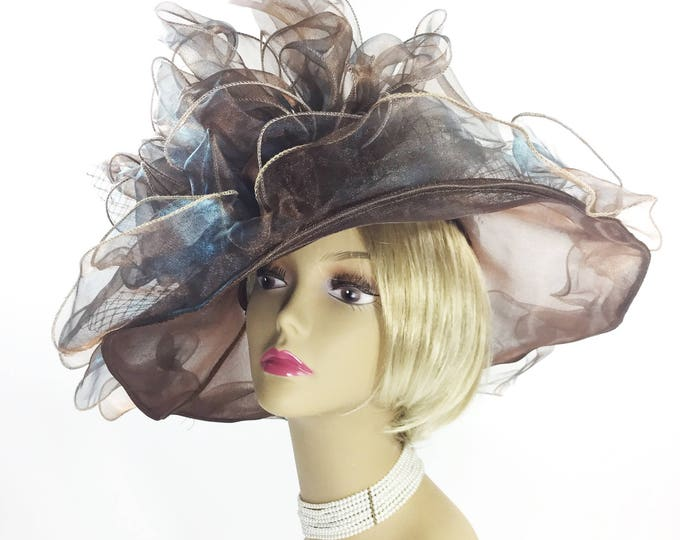 Fabulous Ladies Coffee Brown Tea Party Hat, Summer Hat, Dress Up Hat For Weddings, Dress up, Bridal Showers, Tea time #B222
