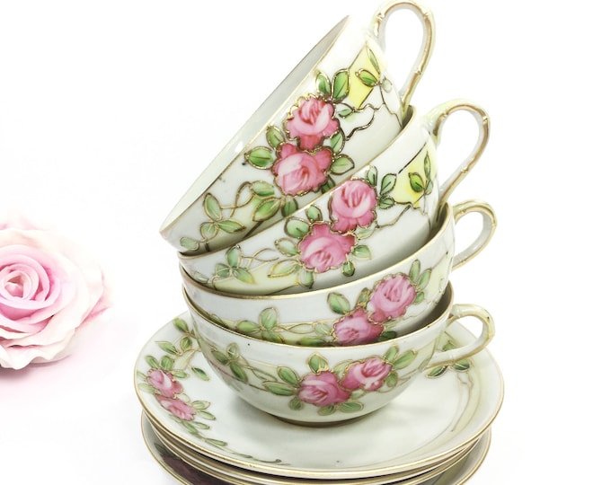 8 Piece Handpainted Nippon Tea Set, Nippon Cup & Saucers For Tea Party Wedding Shower Tea Time #A965