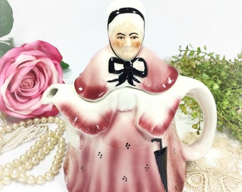 Pink Tony Wood Old Lady Teapot, Pink Collectible Teapot, English Tea Party, Wedding, Shower #B453