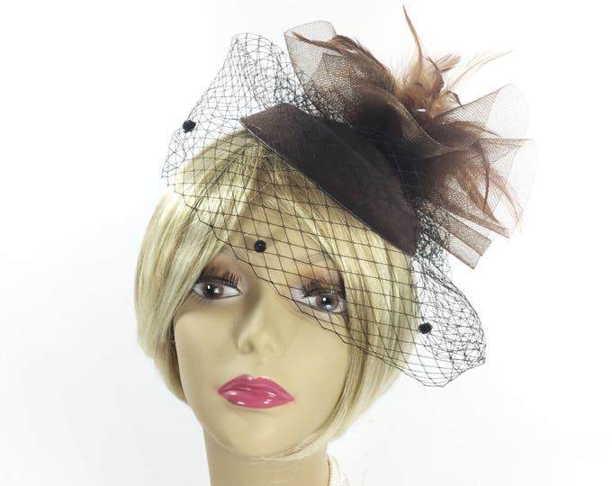 Stunning Ladies Coffee Brown Feather Sinamay Hat W/ Veil, Feather Fascinator, Coffee Tea Party Hat, Derby Hat, Brown Cocktail Hat #B221