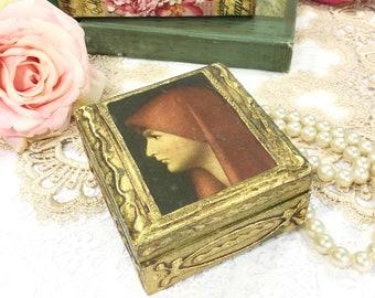 Gold Florentine Portrait Trinket Box, Portrait Jewelry Box, Gold Jewelry Box, Italian Box, Gift #B458