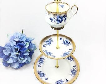 Elizabethan Fine China 3 Tier, Blue Floral English Serving Tray, China Serving Platter, Sandwich Platter, Tea Party #B209