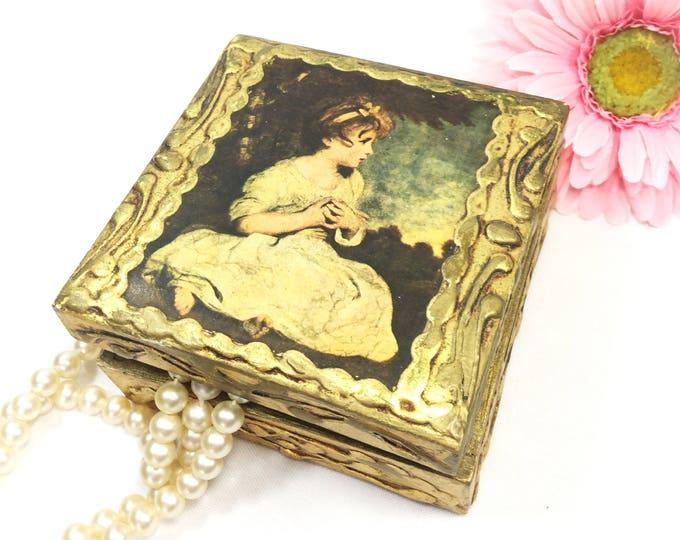 Italian Ornate Portrait Gold Gift Box, Jewelry Box, Trinket Box, Victorian Box, Tea Caddy, Birthday, Wedding, Present #B038