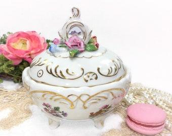 German KPM Covered Jar, Dresden Inspired Decor, KPM Covered Dish, German Trinket Jar, Vintage Home Decor #B395