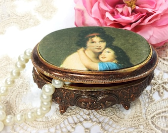 Victorian Satin Portrait Trinket Box, Victorian Jewelry Box, Vintage Trinket Box #B346