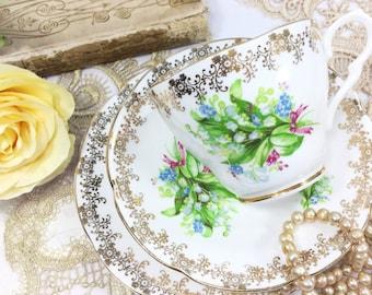 Collingwoods Bone China Tea Trio, English Tea Set, Fine Bone China English Tea Cup and Saucer for Tea Time, Tea Party #B511