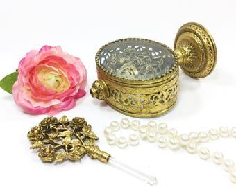 Ormolu Perfume Bottle with Glass Dauber, 24 KT. Gold Plated Belveled Glass Perfume Bottle For Vanity, Boudoir, Hollywood Regency #B092