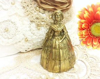 Brass Victorian Lady Southern Belle Brass Bell, Crinoline Bell, Victorian Dinner Bell, Brass Crinoline Table Bell, #B338