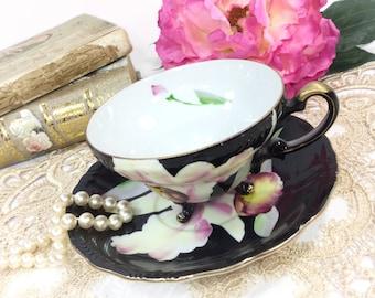 Purple Floral Black China Tea Cup & Saucer, Tea Set 4 Tea Party, Wedding Shower, Tea Time, Bridal, Tea Party, Gift  #B321