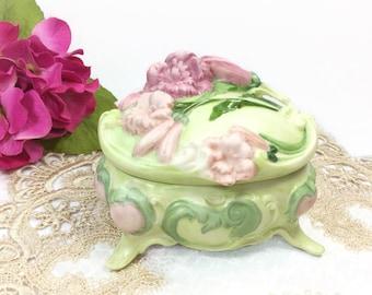 Green Floral Trinket Box, Garden Victorian Inspired Jewlery Box, Victorian Trinket Box, Keepsake Box #B263