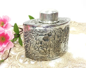 Antique E. G. WEBSTER & SON 2 Sided Reposse Tea Caddy Box, Silver Plated Reposse Tea Canister  #B311