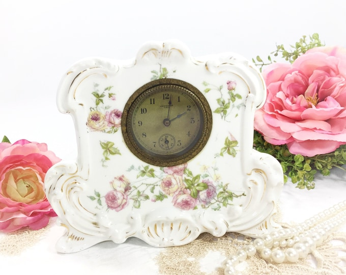 New Haven Pink Floral Victorian Style Boudoir Mantel Porcelain Wind Up Clock, Shabby Chic Home Decor, Prop, Wedding Gift #B389