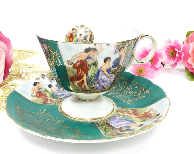 LM Royal Halsey Footed Cup And Saucer, Very Fine Bone China Tea Cup & Saucer, Wedding Shower, Tea Time, Bridal, Tea Party # B485