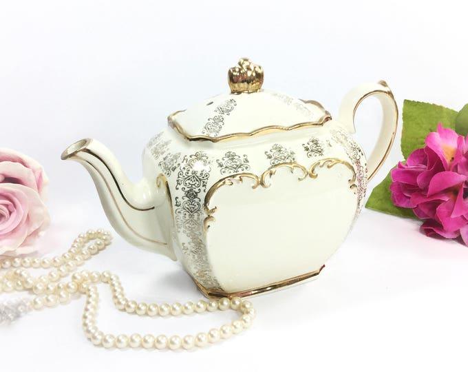 Gorgeous Cubed Sadler English Floral Gilt Teapot, Sadler Teapot, Cubed Sadler Teapot Perfect for Tea Party, Wedding, Shower, Tea Time #B073