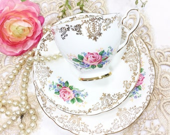 Royal Stafford Tea Trio, Rose & Gold, Staffordshire, c1952. Bone China English Tea Cup, Saucer, Plate For Tea Time, Tea Party, Wedding #A864