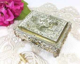 Courting Couple Baroque Gold Filigree Trinket Box, Gold Victorian Jewlery Box, Victorian Trinket Box, Keepsake Box #B259